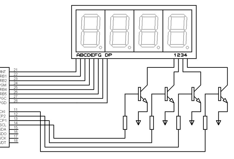 Conexión display 4 dígitos.