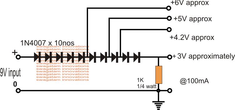 Reductor de Voltaje usando Diodos